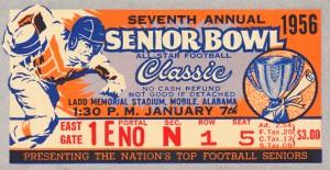 1956 Senior Bowl Ticket Stub Art by Row One Brand