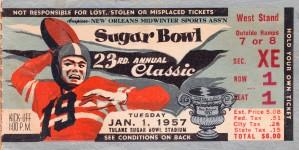 1957 Sugar Bowl Ticket Wall Art Baylor Win by Row One Brand