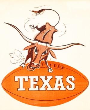 1957 texas longhorns vintage football art by Row One Brand