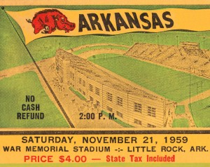 1959 Arkansas Football Ticket Art by Row One Brand