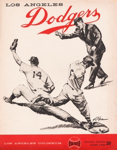 1959 LA Dodgers Baseball Scorecard Canvas by Row One Brand