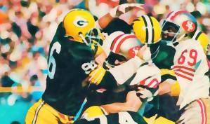 Vintage Green Bay Packers Art Digital Painting by Row One Brand