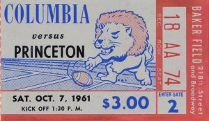 1961 Columbia vs. Princeton Ticket Stub Art by Row One Brand