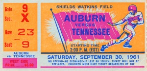 1961 Tennessee vs. Auburn Football Ticket Art by Row One Brand