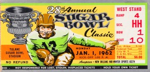1962 Sugar Bowl Ticket Poster Alabama Win by Row One Brand