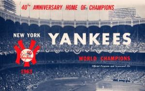 1963 new york yankees world champions scorecard canvas by Row One Brand