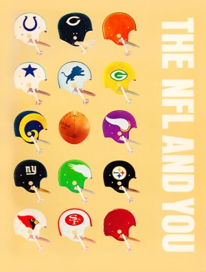 1963 vintage nfl helmets reproduction art by Row One Brand
