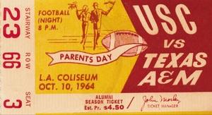 1964 Texas AM vs. USC Trojans by Row One Brand