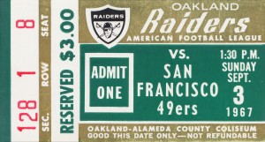 1967 Oakland Raiders vs. San Francisco 49ers by Row One Brand