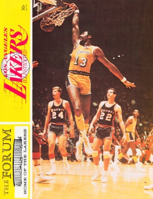 1968 la lakers basketball poster wilt chamberlain dunk photo by Row One Brand