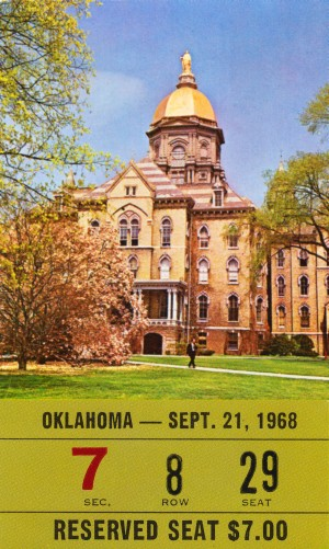 1968 oklahoma sooners notre dame college football south bend indiana sports tickets wall art by Row One Brand