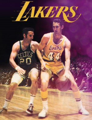 1969 los angeles la lakers jerry west poster by Row One Brand