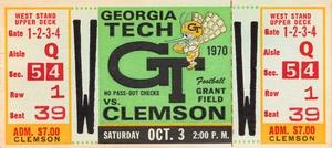 1970 Georgia Tech vs. Clemson Football Ticket Wood Print by Row One Brand