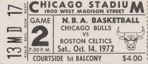 1972 Chicago Bulls vs. Boston Celtics Ticket Stub Art by Row One Brand