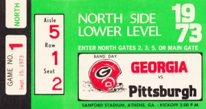 1973 Georgia vs. Pittsburgh Ticket Wall Art by Row One Brand