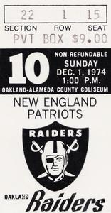 1974 New England Patriots vs. Oakland Raiders | Row 1  by Row One Brand