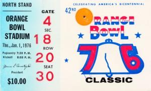 1976 Orange Bowl Ticket Stub Wall Art by Row One Brand