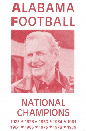 1979 Alabama Football Bear Bryant Poster by Row One Brand