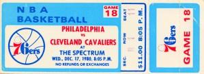 1980 cleveland cavaliers philadelphia 76ers nba basketball ticket art by Row One Brand