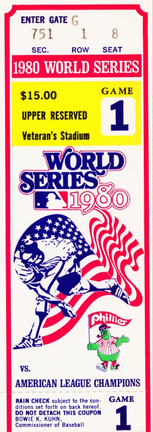 198o World Series Ticket Art Game 1 by Row One Brand