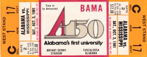 1981 Alabama Football Ticket Canvas Art by Row One Brand