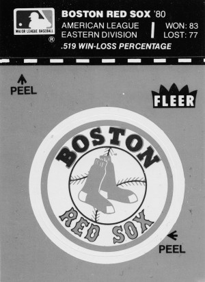 1981 boston red sox fleer decal art black white by Row One Brand