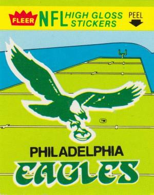 1981 fleer nfl high gloss stickers philadelphia eagles wall art by Row One Brand