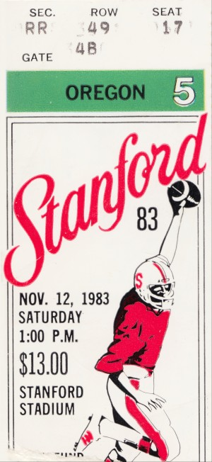 1983 Stanford vs. Oregon Football Ticket Wall Art by Row One Brand