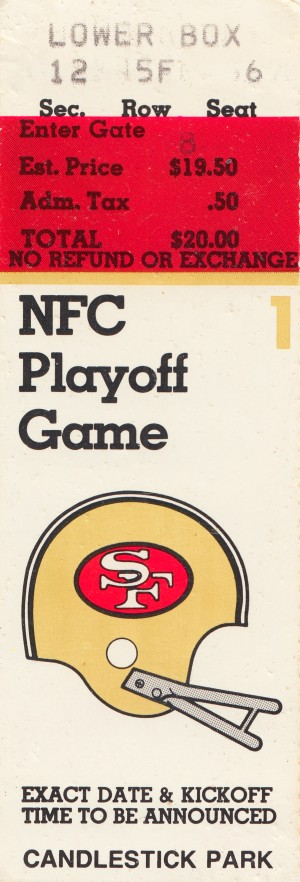 1984 san francisco 49ers nfl football ticket art nfc playoff game by Row One Brand