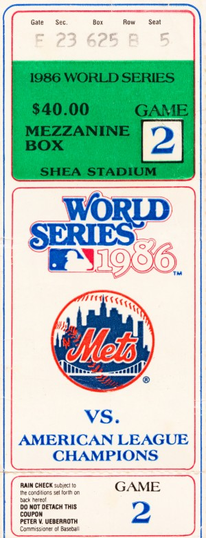 1986 New York Mets World Series Ticket Wall Art by Row One Brand