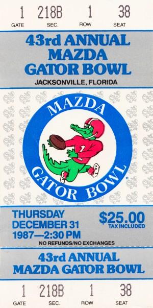 1987 Gator Bowl Ticket Art LSU Win by Row One Brand