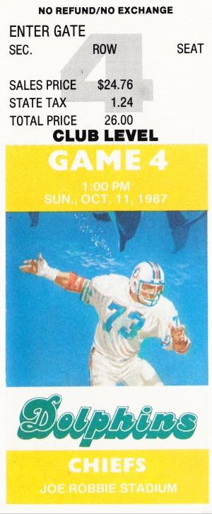 1987 Miami Dolphins vs. Chiefs by Row One Brand