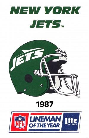 1987 New York Jets Helmet Art by Row One Brand