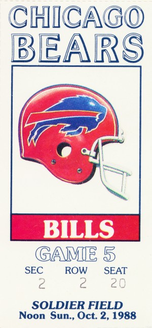 1988 Chicago Bears vs. Bills Football Ticket Art by Row One Brand