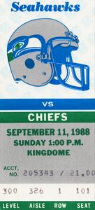1988 Seattle Seahawks vs. Kansas City Chiefs | Row 1 by Row One Brand