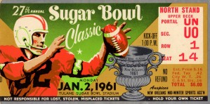 sugar bowl ticket stubs 1961 ole miss rebels art by Row One Brand