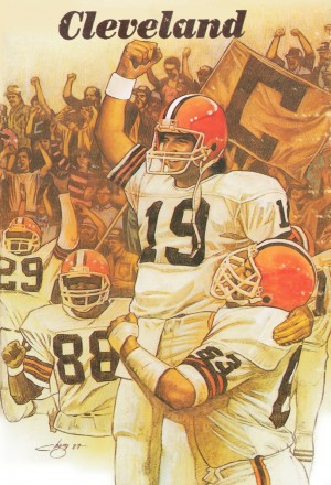1987 Cleveland Browns Football Art by Row One Brand