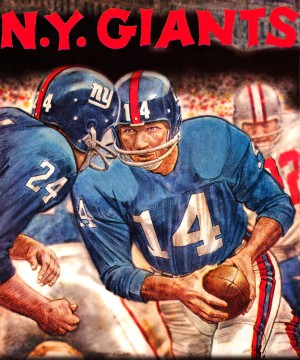 vintage new york giants nfl art poster by Row One Brand