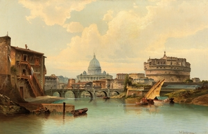 Karl Kaufmann 1900 Rome View Of Castel Sant angelo by TOPARTGALLERY