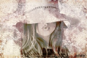 Lovely Girl with Hat on Vintage paper by dePace-