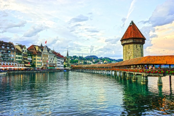 Chapel Bridge and Old Town at Sunset Lucerne Switzerland Digital Download
