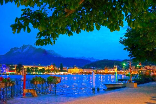 City Lights over Lake Lucerne Switzerland Digital Download