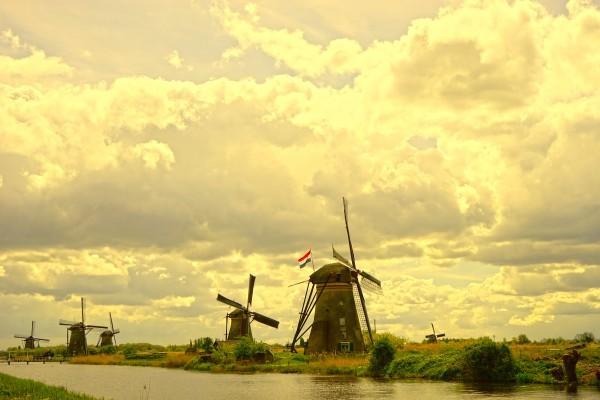 Windmills at Sunset  Digital Download