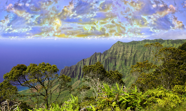 Sunset at Puu O Kila Lookout Kohala Mountains on the Island of Kauai in Hawaii Panorama Digital Download