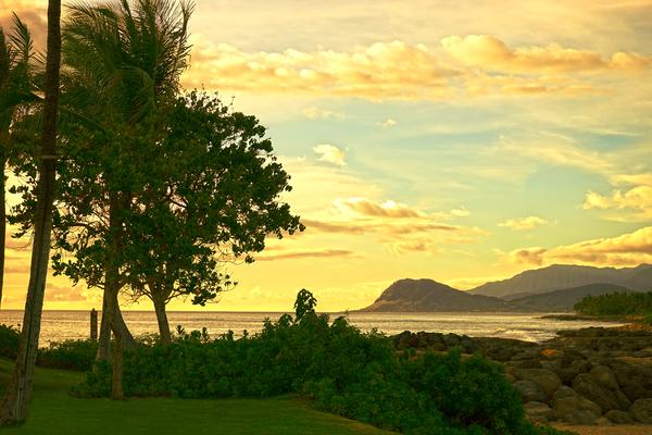 Sunset over the Bay Oahu Hawaii Digital Download