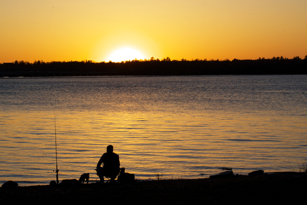 Relaxing and fishing sunset on the river by Andy LeBlanc
