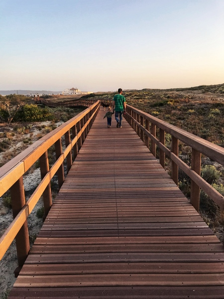 The wooden path on the coast Portugal by Anita Varga