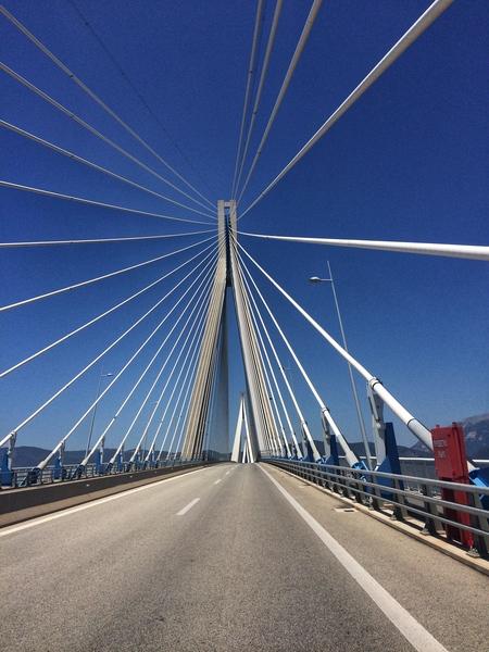 A Rio-Antirio bridge in Peloponnese Greece by Anita Varga