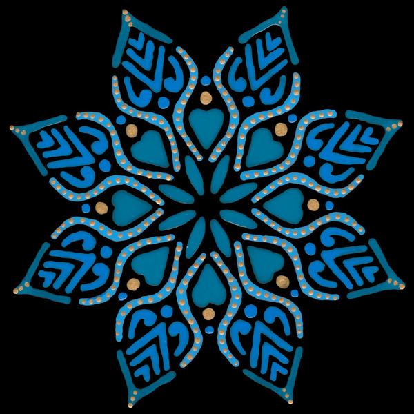 blue flower mandala on tile by Anita Varga
