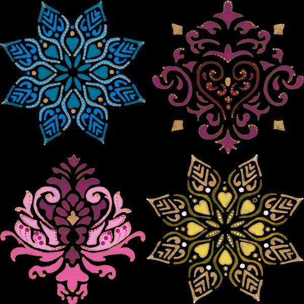 four painted ornamental flowers  by Anita Varga